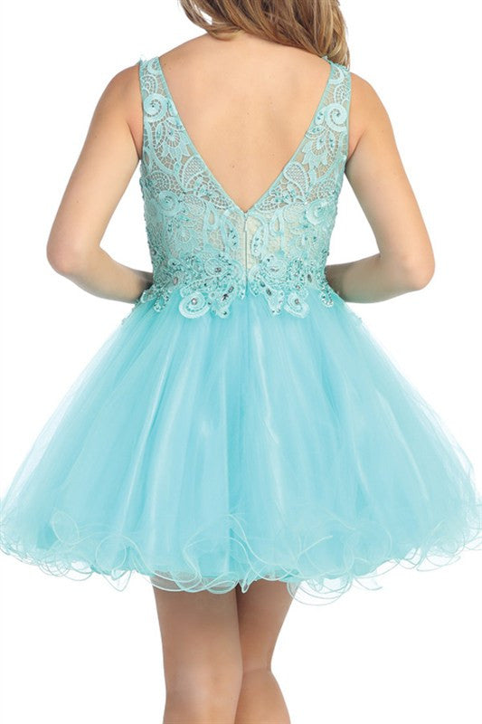 Louvre Lace Party Dress in Aqua