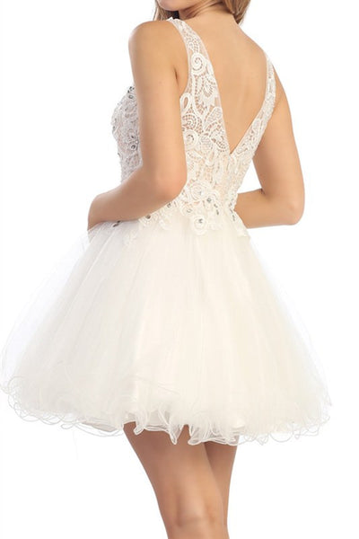Louvre Lace Party Dress in Off White