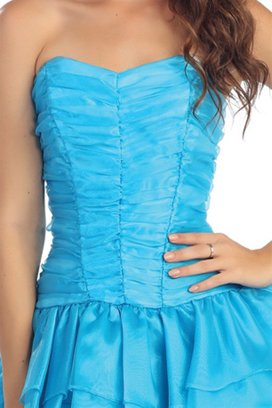 Radiant Ruching Party Dress in Turquoise