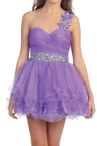 Rosette Rendezvous Party Dress in Purple