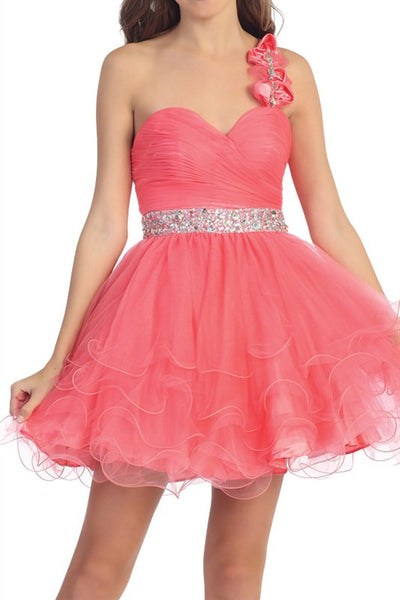 Rosette Rendezvous Party Dress in Coral