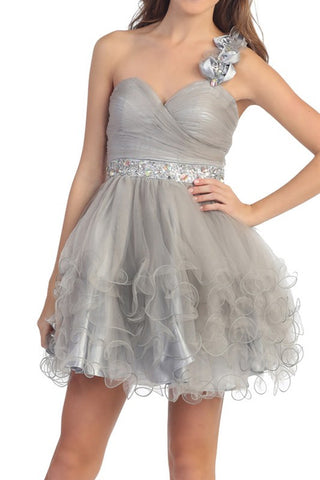 Rosette Rendezvous Party Dress in Silver
