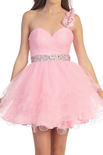 Rosette Rendezvous Party Dress in Pink