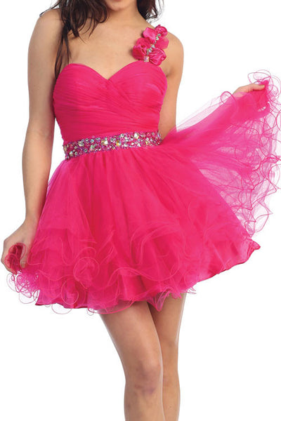 Rosette Rendezvous Party Dress in Fuschia