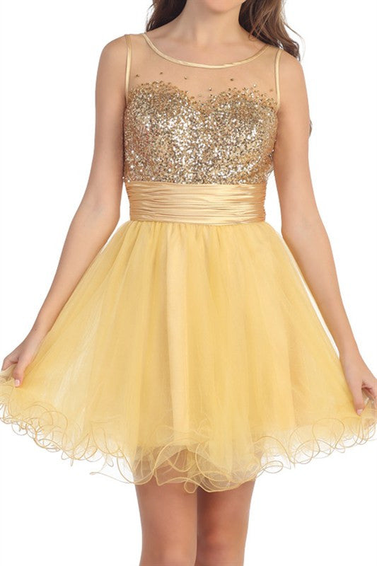 First Slow Dance Party Dress in Gold