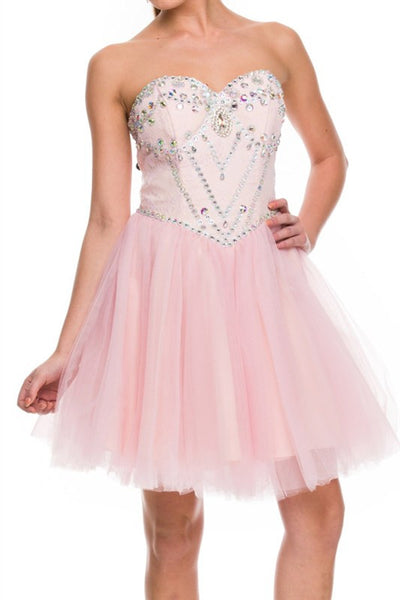 Galactic Gala Party Dress in Light Pink