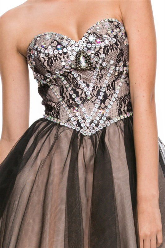 Galactic Gala Party Dress in Black and Nude