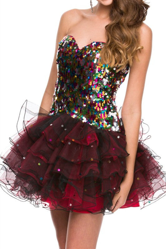 Glimmer And Shine Party Dress In Black And Red Trendy Clothing I