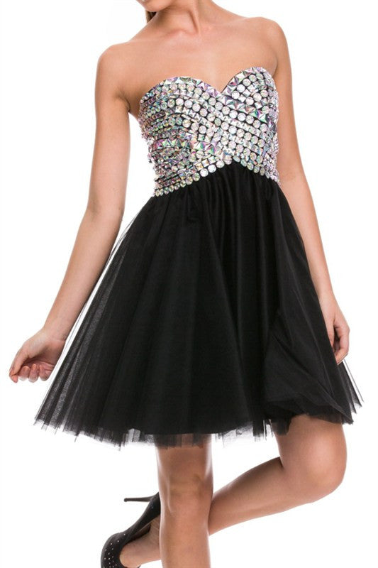Holographic Heaven Party Dress in Black