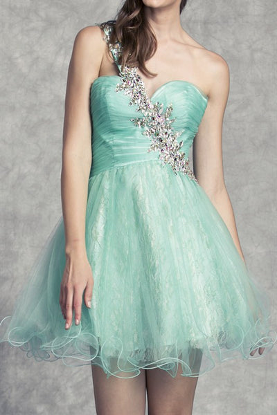 Ornate One Shoulder Party Dress in Jade