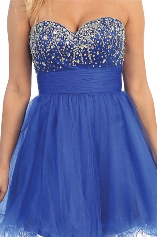 Chandelier Shimmer Party Dress in Royal Blue