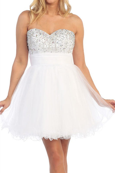 Chandelier Shimmer Party Dress in White