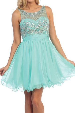 Flowing and Flowering Party Dress in Mint