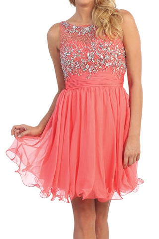 Flowing and Flowering Party Dress in Coral