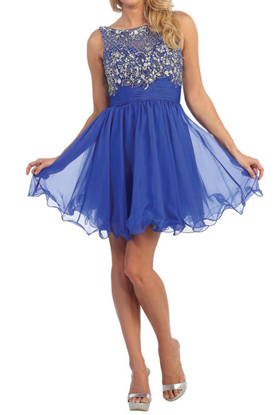 Flowing and Flowering Party Dress in Royal Blue