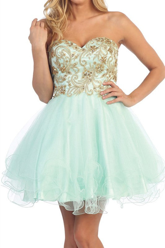 Chandelier Bodice Party Dress Mint
