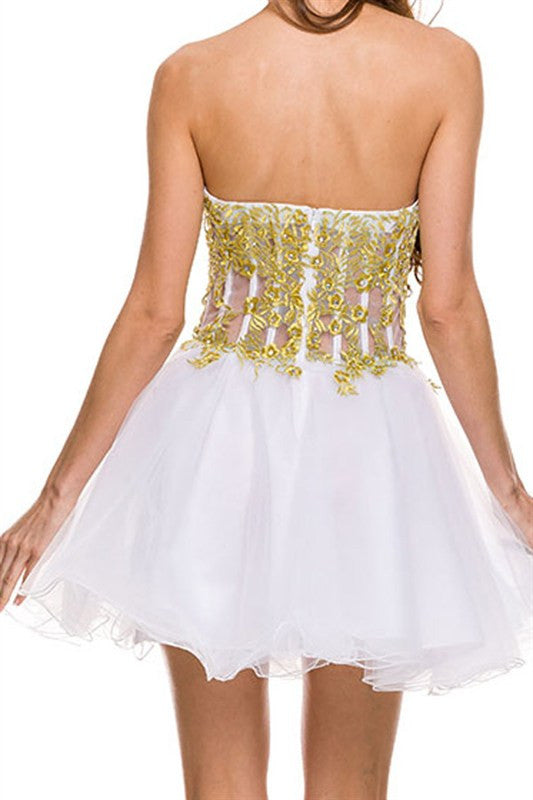 Golden Embellishment Party Dress in White