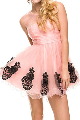 Illusion and Embellishment Party Dress in Pink
