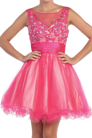 Versailles V-Back Party Dress in Fuschia