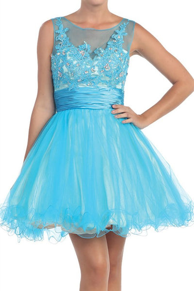Versailles V-Back Party Dress in Turquoise