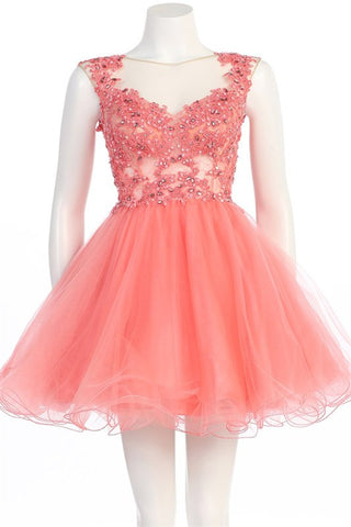 Grandiose Garden Party Dress in Coral