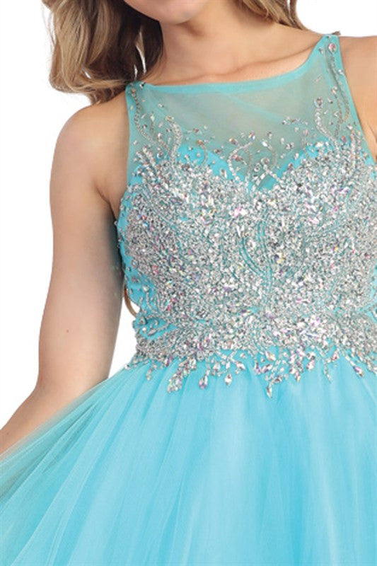 Heart Shaped Box Party Dress in Aqua
