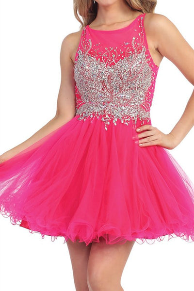 Heart Shaped Box Party Dress in Fuschia