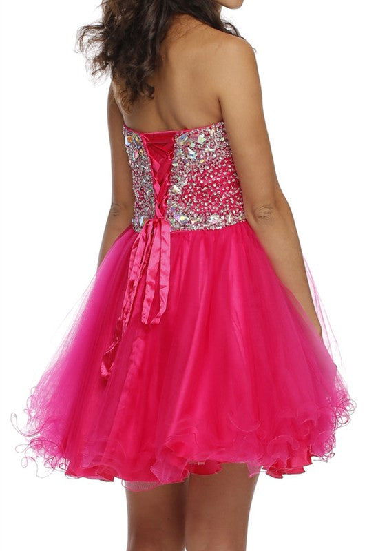 Opalescent Occasion Party Dress in Fuschia