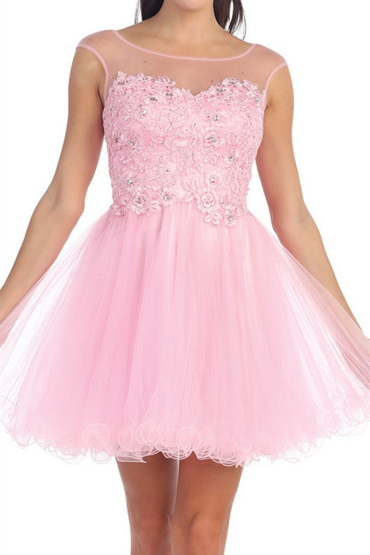 Lace Bouquet Party Dress in Pink