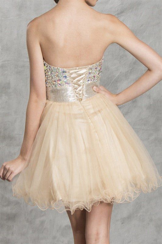 Champagne Shimmer Party Dress in Light Gold