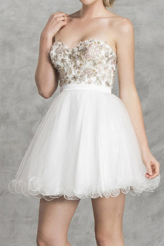 Antique Overlay Party Dress in White