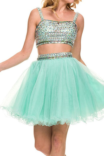 Rhinestone Reservation Party Dress in Mint Green