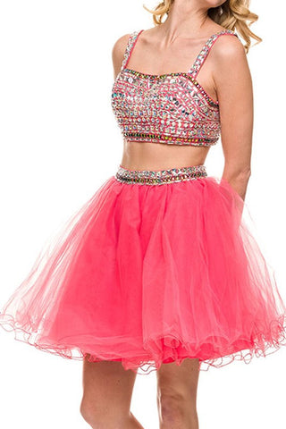 Rhinestone Reservation Party Dress in Watermelon
