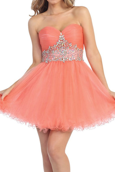 Tasteful Tiara Party Dress in Coral
