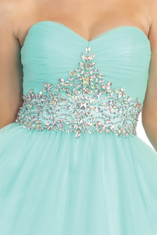 Tasteful Tiara Party Dress in Mint