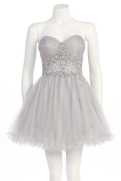 Tasteful Tiara Party Dress in Silver