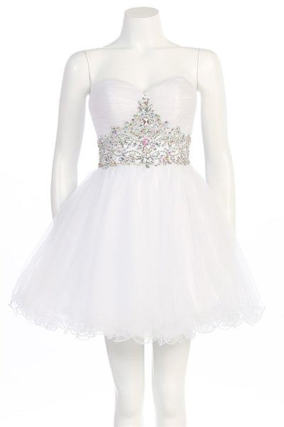 Tasteful Tiara Party Dress in White