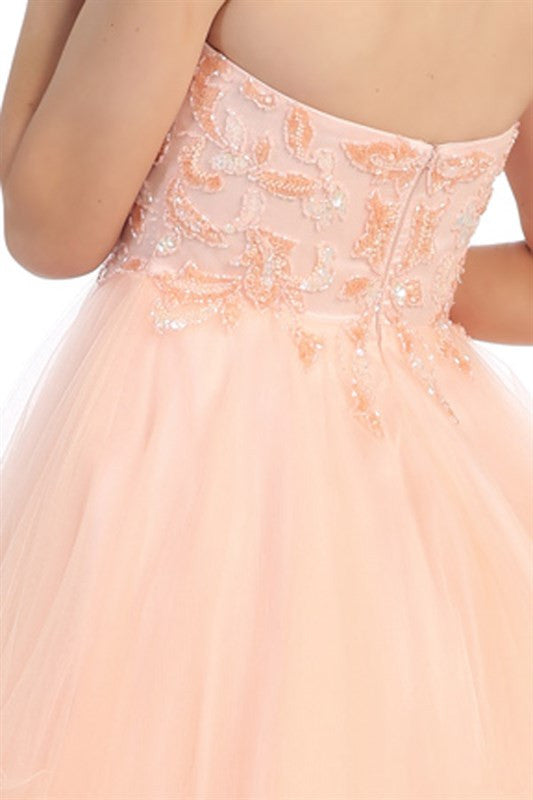 Pastel Paillettes Party Dress in Pink