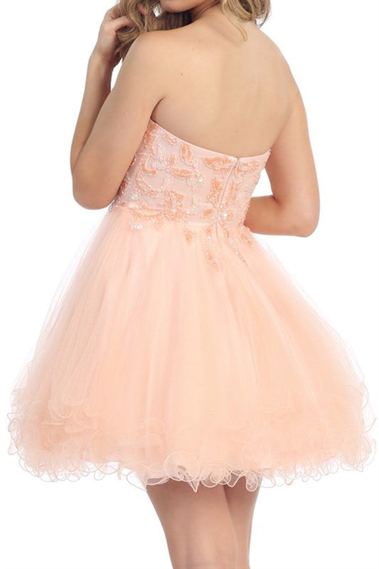 Pastel Paillettes Party Dress in Blush