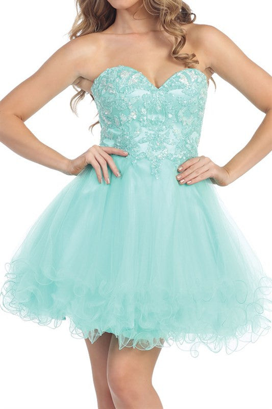 Pastel Paillettes Party Dress in Mint