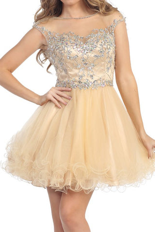 Vivacious V-Back Party Dress in Champagne