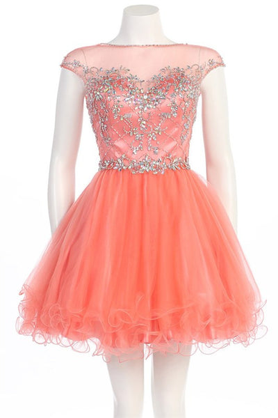 Vivacious V-Back Party Dress in Coral
