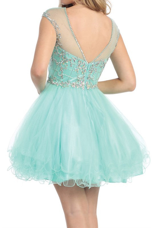 Vivacious V-Back Party Dress in Mint