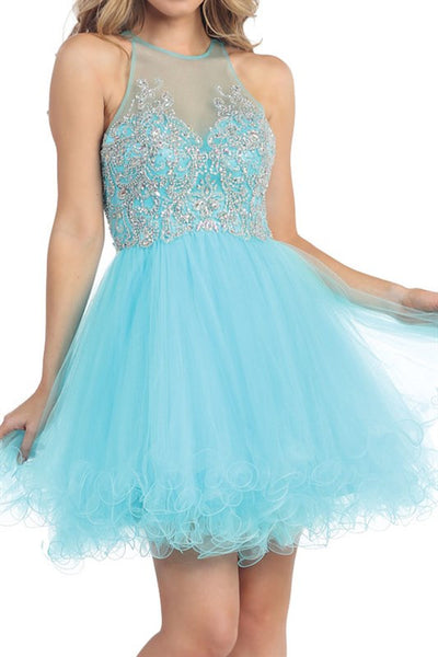 Garden of Grandeur Party Dress in Aqua