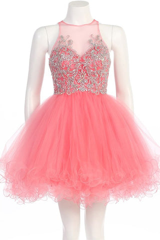 Garden of Grandeur Party Dress in Coral