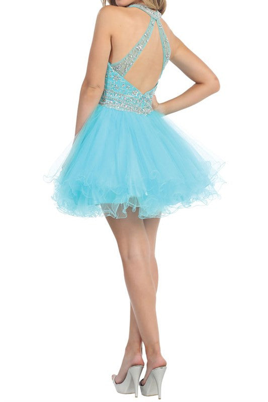 Gathered Glamour Party Dress in Aqua