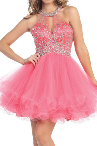 Gathered Glamour Party Dress in Coral