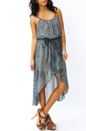 Sultry in Stripes High Low Dress in Navy