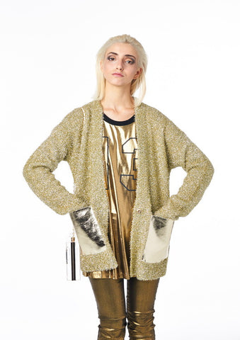 Tinsel Time Cardigan in Bright Gold