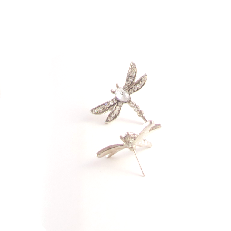 Dragonfly Me to the Moon Earrings in Silver